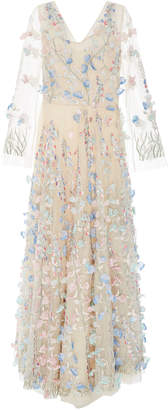 Luisa Beccaria Embroidered Floral And Pearl-Embellished Silk-Tulle Gown