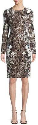 Black Halo Erika Animal-Print Long-Sleeve Dress