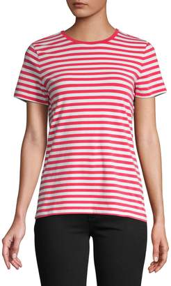 Lord & Taylor Cotton Stretch Stripe Tee