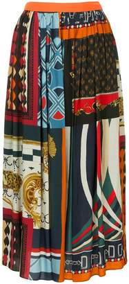 Kolor scarf print pleated skirt