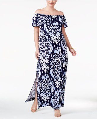 INC International Concepts Plus Size Off-The-Shoulder Maxi Dress, Only at Macy's $109.50 thestylecure.com