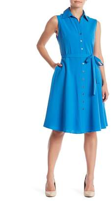 Sharagano Sleeveless Button Down Waist Tie Dress