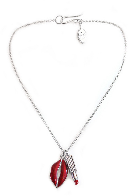 Lulu Guinness Lip and Lipstick Red Necklace