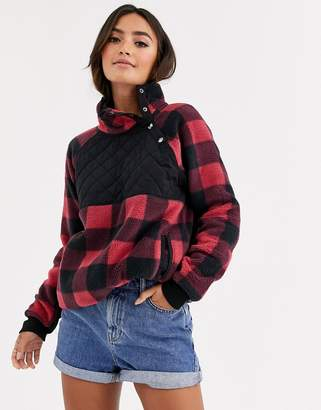 Abercrombie & Fitch half zip teddy pullover in check