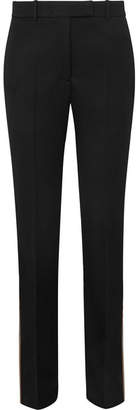 Calvin Klein Striped Wool-twill Straight-leg Pants - Black