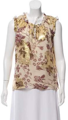 Diane von Furstenberg Metallic Sleeveless Blouse