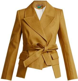 DURO OLOWU Tie waist cotton-denim blazer