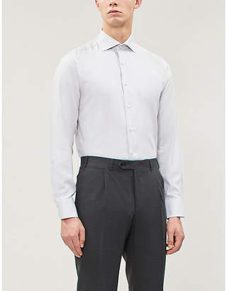 Canali Textured regular-fit cotton shirt