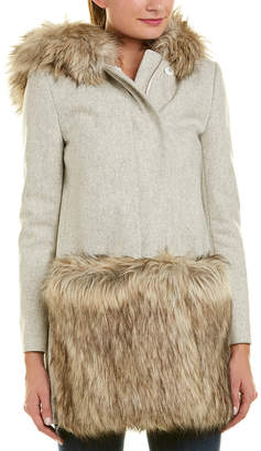French Connection Platform Felt Wool-Blend Coat