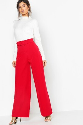boohoo Wide Leg Belted High Waist Trouser