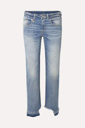 R 13 Boy Straight Frayed Mid-rise Jeans - Light denim