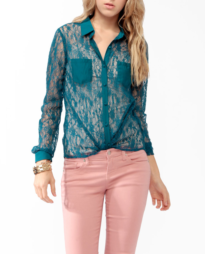 Forever 21 Sheer Lace Shirt