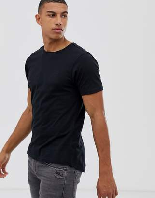 Another Influence Muscle Fit Stretch Long line Curved Hem Logo T-Shirt