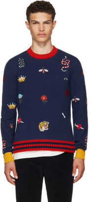 Gucci Navy Embroidered Sweater $1,750 thestylecure.com