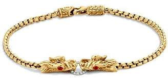 John Hardy Naga 18K Yellow Gold Box Chain Bracelet with Diamonds and African Ruby Eyes