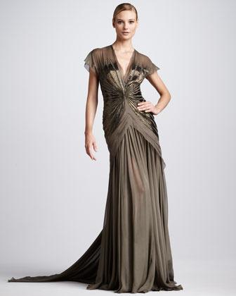 Pamella Roland Beaded Chiffon Gown