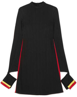 Ellery Dada Cutout Striped Ribbed Jersey Mini Dress - Black