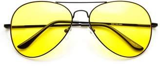 Zerouv Classic Metal Frame Yellow Tinted Night Driving Aviator Sunglasses