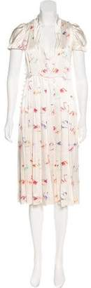 Marc Jacobs Flamingo Print Pleated Dress