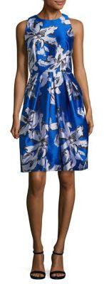 Carmen Marc Valvo Leaf Print Jacquard Cocktail Dress $595 thestylecure.com