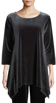 Caroline Rose 3/4-Sleeve Stretch Velvet Swing Tunic