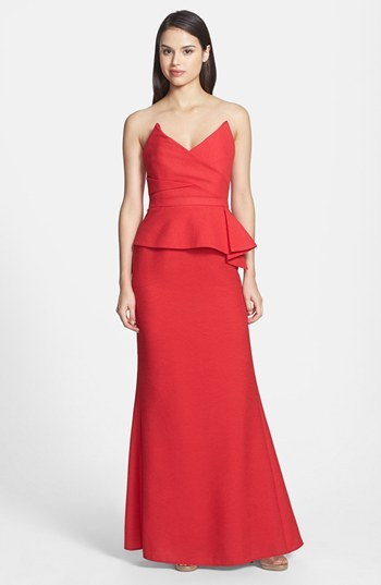 BCBGMAXAZRIA 'Gracie' Crepe Peplum Mermaid Gown
