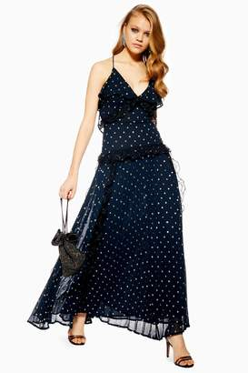 5bd7e12296 Topshop Womens Lace Metallic Thread Pleat Maxi Dress - Navy Blue