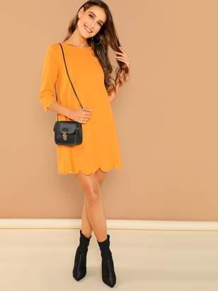 Shein Neon Orange Scallop Edge Dress