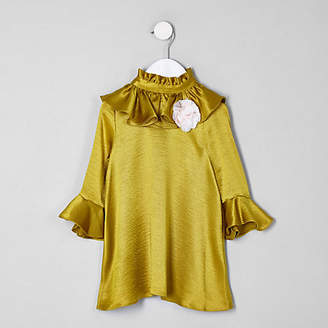 River Island RI 30 mini girls dark Yellow frill dress