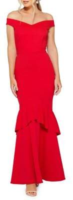 Quiz Bardot Fishtail Maxi Dress