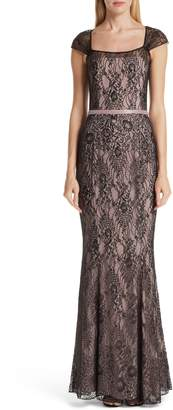 VERDIN Cap Sleeve Lace Evening Dress
