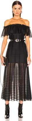 Alexander McQueen Off the Shoulder Sheer Dress in Black | FWRD