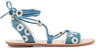 Fleura Embroidered Denim Sandals - Blue