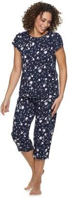 Croft & Barrow Women's Lace Trim Knit Capri Set