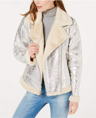Tommy Hilfiger Faux-Shearling Moto Jacket, Created for Macy's