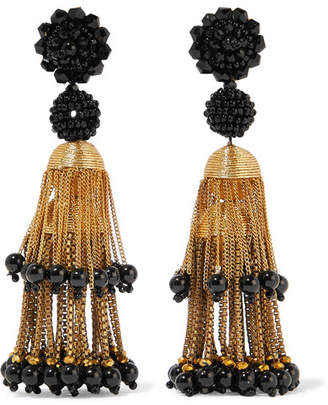 Oscar de la Renta Gold-tone Beaded Clip Earrings - Black
