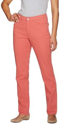 "Denim & Co. How Slimming"" Petite Colored Denim Straight Leg Jeans"