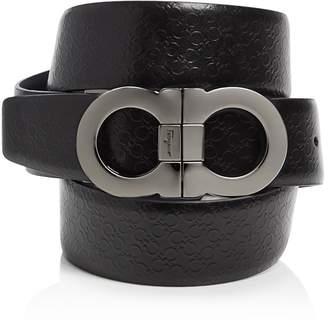 Salvatore Ferragamo Micro Gancini Reversible Belt with Double Gancini Buckle