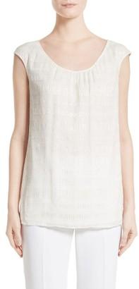 Women's St. John Collection Metallic Stripe Silk Shell $495 thestylecure.com