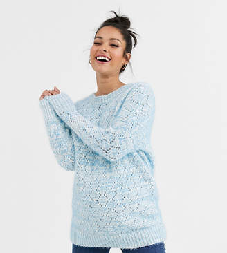 Asos DESIGN Maternity stitch detail fluffy jumper with tie back
