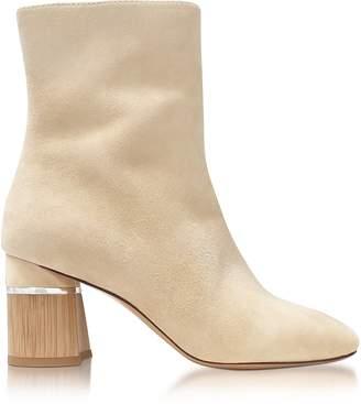 3.1 Phillip Lim Drum Ecru Suede Heel Ankle Boots