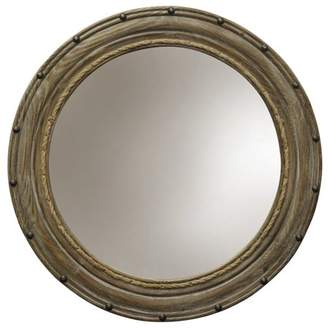 Generic Rope and Rivets Round Wall Mirror - Natural Wood Finish