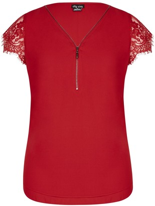 City Chic **City Chic Red Lace Top