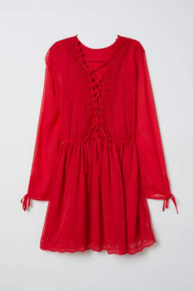 H&M Chiffon Dress with Lace - Red