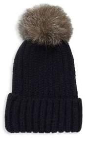 Pom-Pom Knit Fox Fur Beanie