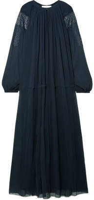 Chloé Lace-trimmed Silk-crepon Maxi Dress - Midnight blue