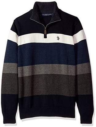 U.S. Polo Assn. Men's Striped 1/4 Zip Sweater W/Sherpa Neck