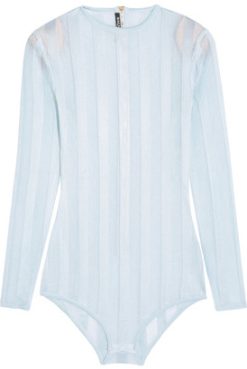 Balmain - Striped Stretch-knit Bodysuit - Sky blue $2,325 thestylecure.com