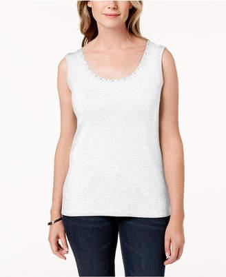 Karen Scott Petite Cotton Studded Top