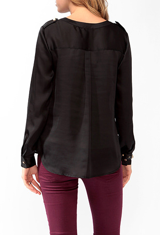 Forever 21 Satin Button Up Blouse